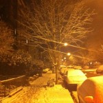 Light snowfall: a powdery covering after an evening at the Kennedy Center